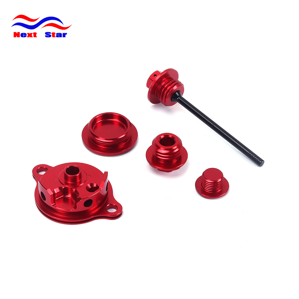 Motorcycle Motocross Oil Filter Cover Timing Screw Oil Dipstick For HONDA CRF450X CRF 450X 05-16 CRF250R CRF 250R 2010-2016 for honda crf 250r 450r 2004 2006 crf 250x 450x 2004 2015 red motorcycle dirt bike off road cnc pivot brake clutch lever