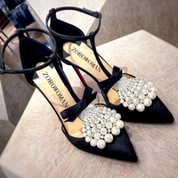 2019 Summer New Fashion Pointed Pearl Shallow Mouth Ladies Stiletto Sandals Sexy Banquet Hhigh heeled Shoes