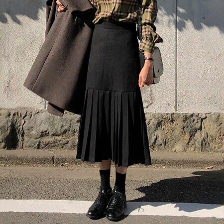 Plaid Women Skirts 2018 New Autumn Spring Plus Size Knee Length Skirt Female Vintage Suede Skirts Jupe Femme Faldas Mujer