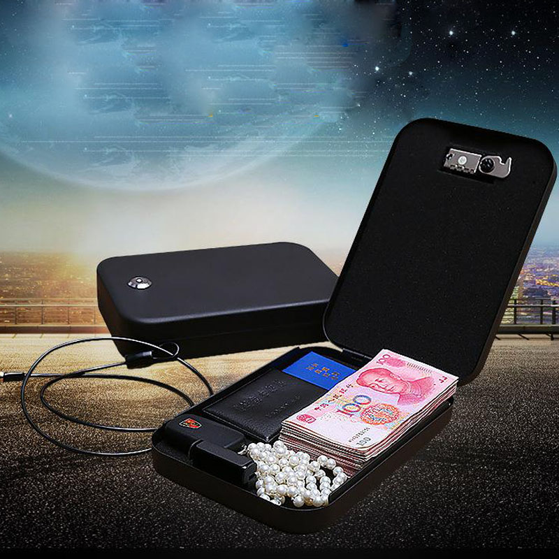 Key Safe Portable Cold Rolled Steel Car Auto Safe Pistol Valuables Wallet Jewelry Storage Box Safe Deposit Box Safe DHZ029