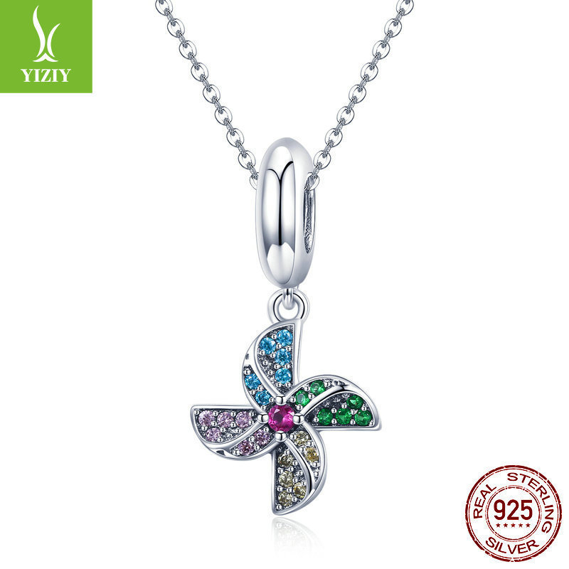 Pendant Charms 925 Sterling Silver Full Pave Colorful Crystal Windmill Charm For Women Silver Charm BraceletPendant Charms 925 Sterling Silver Full Pave Colorful Crystal Windmill Charm For Women Silver Charm Bracelet