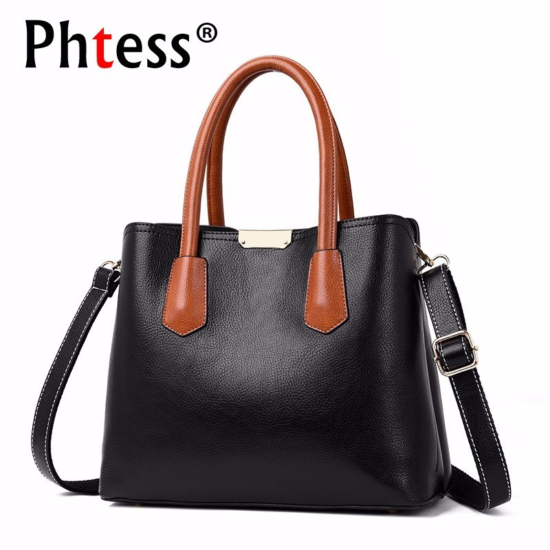 Women Leather Handbags High Quality Top-handle Bags Women Famous Brand Bags 2018 Soft Sac A Main Ladies Hand Bag Tote Casual New new women leather handbags shoulder bag women s casual tote bag female patchwork handbags high quality main ladies hand bags