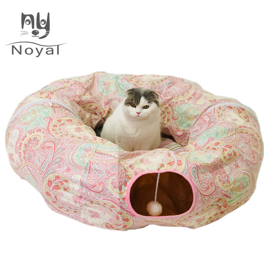 Cat Dog Tunnel Bed with Cushion Tube Toys Plush Large Diameter Longer Crinkle Collapsible for Large