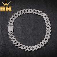 Le BLING KING 20mm broche cubaine lien chaînes collier mode Hiphop bijoux 3 rangées strass glacé colliers pour hommes
