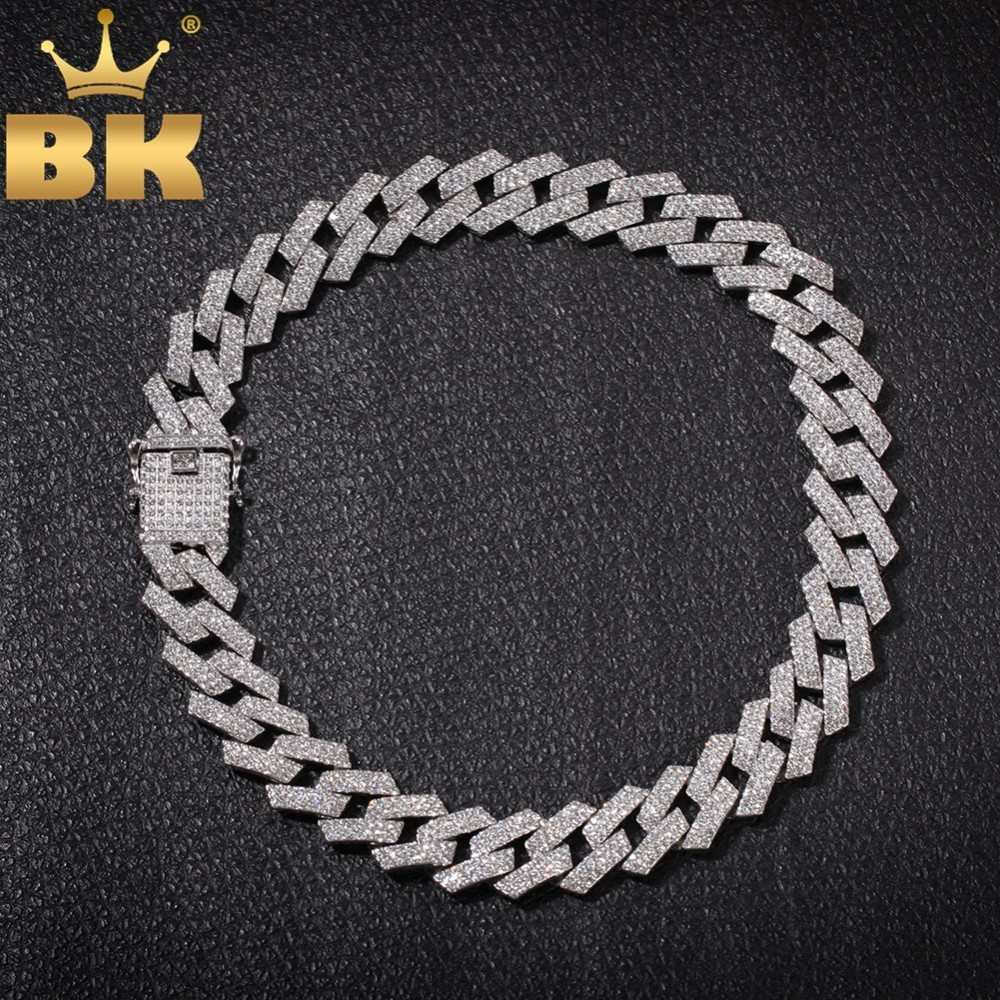 THE BLING KING 20mm 프롱 쿠바 링크 체인 목걸이 패션 힙합 쥬얼리 3 행 모조 다이아몬드 남성용 목걸이