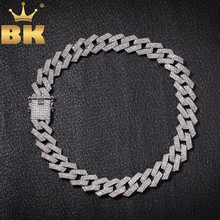 THE BLING KING 20mm Prong Cuban Link Chains Necklace Fashion Hiphop Jewelry 3 Row Rhinestones Iced Out Necklaces For Men