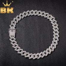 THE BLING KING 20mm Prong Cuban Link Chains Necklace Fashion Hiphop Jewelry 3 Row Rhinestones Iced Out Necklaces For Men(China)