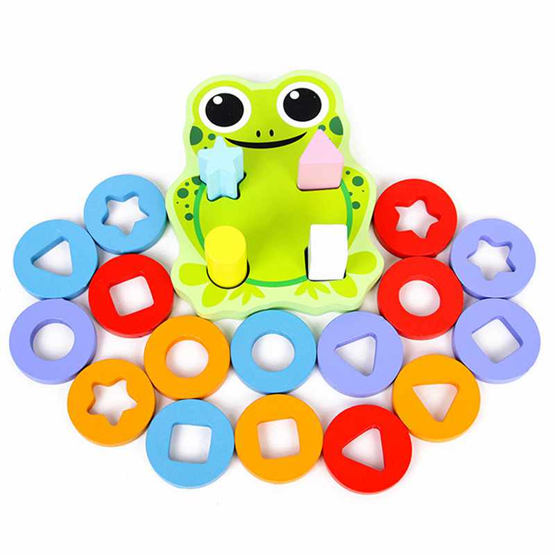 FBIL-Lovely Frog Geometric Column Blocks Shape Sorter Cognitive Match Games Wooden Learning & Education Toy For Kids Children