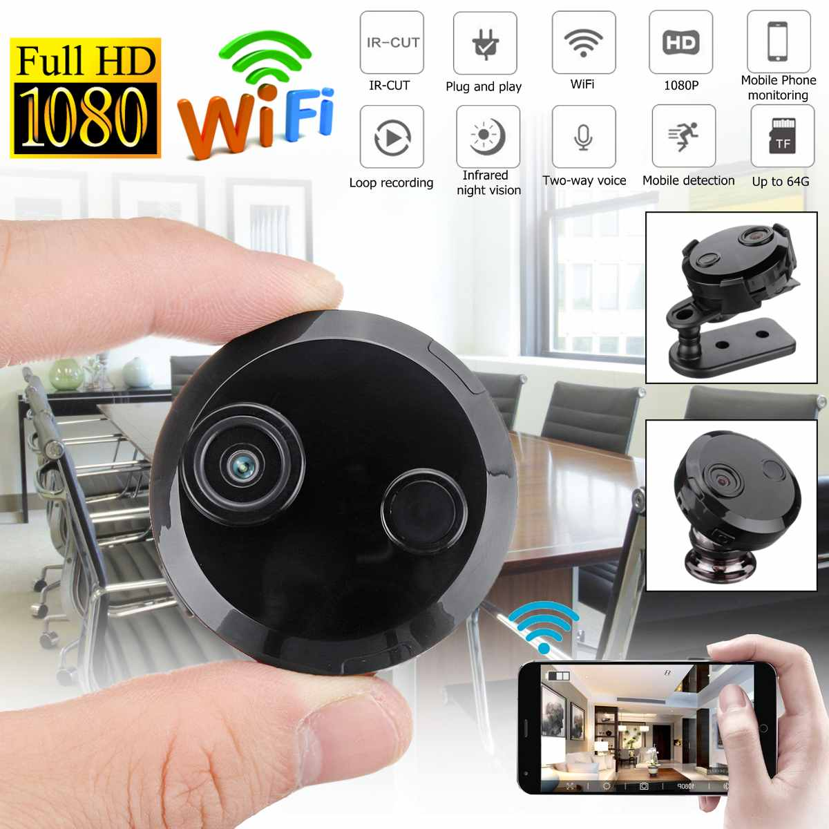 Caméra WIFI IP 1080 P 150 degrés Mini caméscope pour IOS android utilisation de bureau à domicile