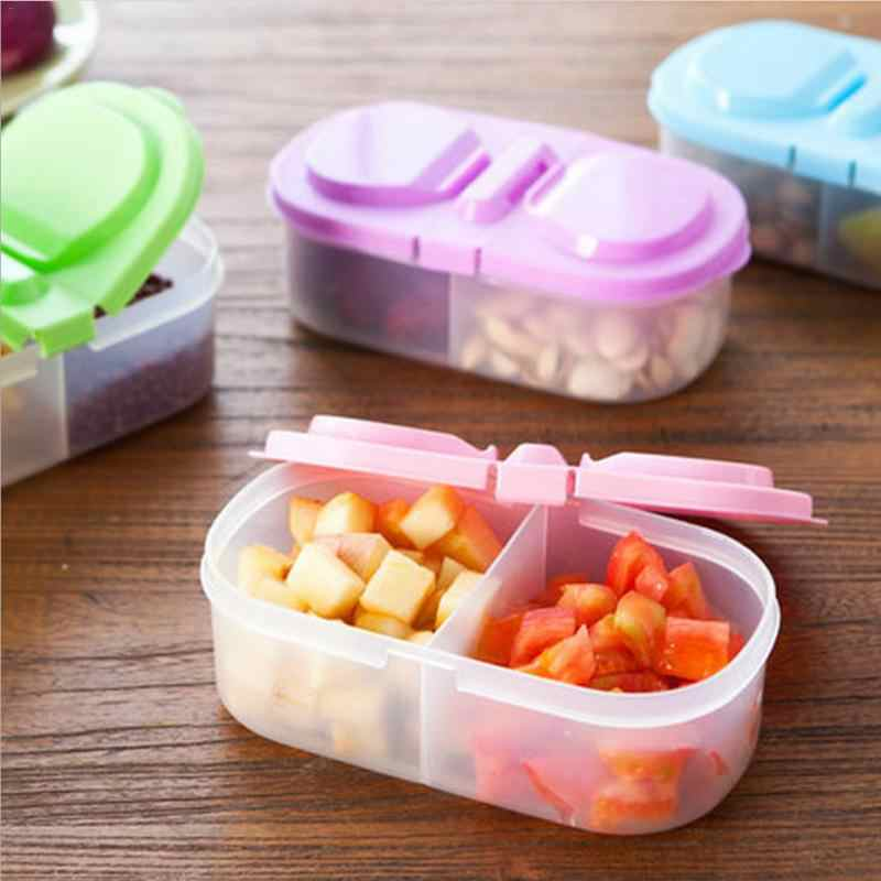 Double-Grid Coarse Cereals Sealed Can Storage Box Candy-Colored Multifunctional Refrigerator Food Preservation Box With Cover