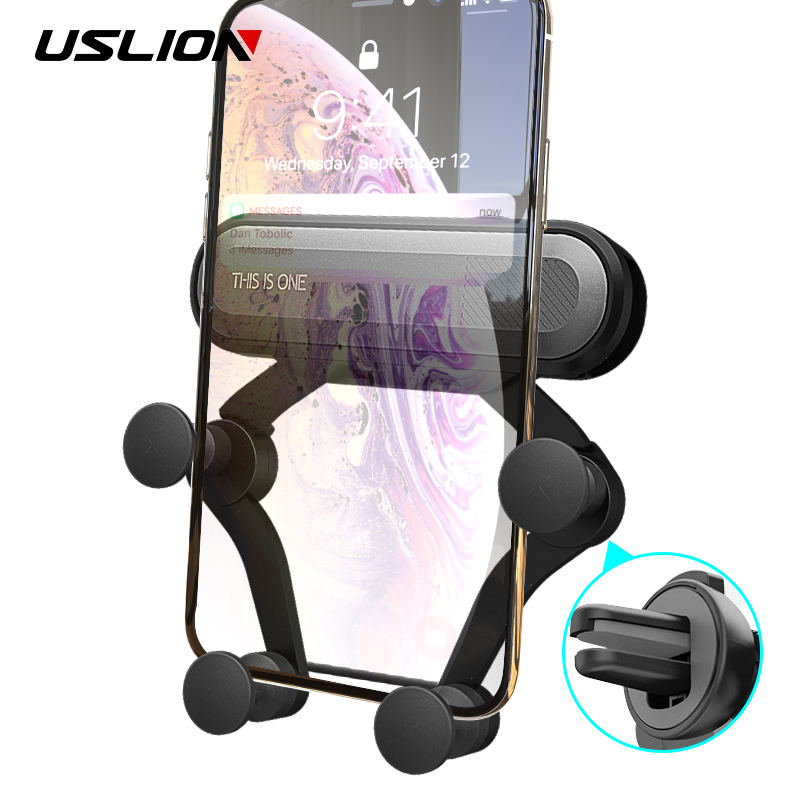 USLION Universal Gravity Car Phone Holder Air Vent Mount Stand Clip For Smartphone in Car Holder for iPhone XS XR X Samsung S8 in Phone Holders Stands from Cellphones Telecommunications