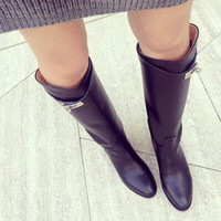 8c2f6a3601 Top Fashion Leather Women Long Boots Round Toe Slip On Metal Lock Decors  Black Wine Grey