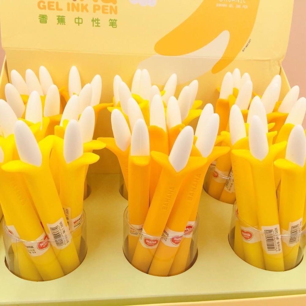 48 unids/lote pluma de Gel estilo Banana papelería creativa coreana Oficina escuela papelería firma pluma-in Bolígrafos de bandera from Suministros de oficina y escuela    2