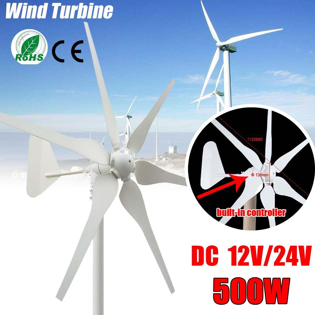2018 DC éoliennes générateur 6 lames 12 V/24 V 500W éoliennes miniatures maison résidentielle avec contrôleur pour un usage domestique