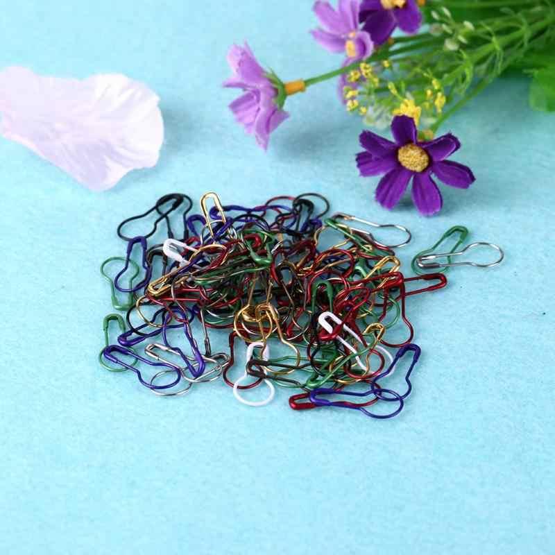 Campuran Warna Safety Pins DIY Jahit Alat Safety Knitting Stitch Marker Tag Pin Labu Bentuk Logam Klip Kit 100 Pcs/Kotak baru 2019