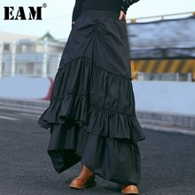 EAM 2019 New Spring Summer High Elastic Waist Black Layers Pleated Stitch Cake