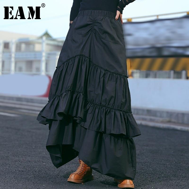 [EAM] 2020 New Spring Summer High Elastic Waist Black Layers Pleated Stitch Cake Half-body Skirt Women Fashion Tide JL639