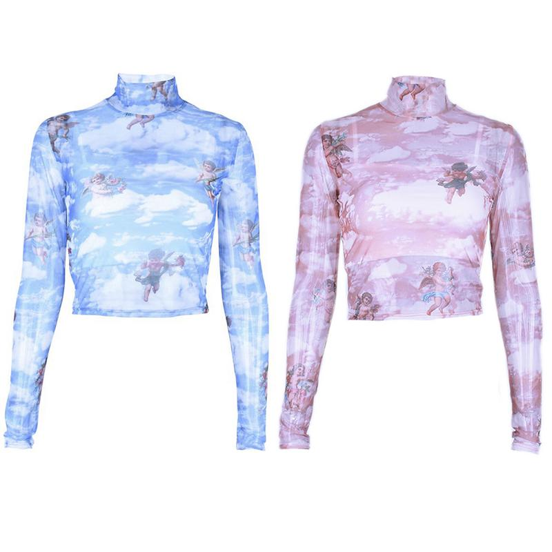Women Sexy Lace Transparent Short Top Turtleneck Long Sleeve Mesh Printing Crop Tops Drop Shipping