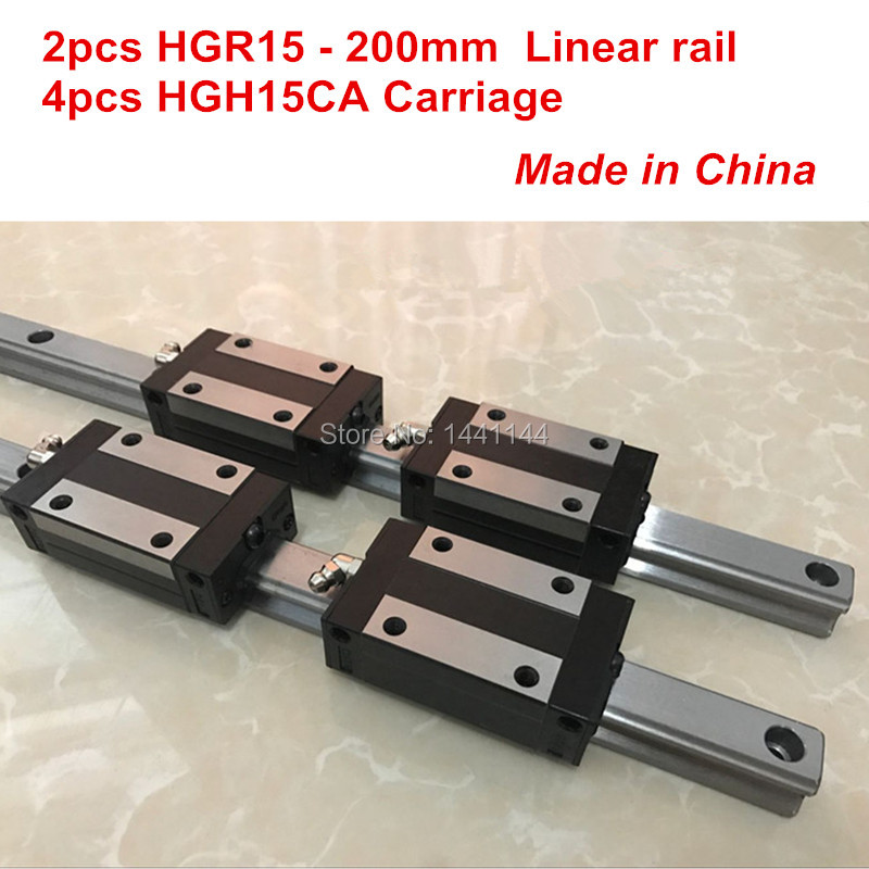 HGR15 linear guide rail: 2pcs HGR15 - 200mm + 4pcs HGH15CA linear block carriage CNC partsHGR15 linear guide rail: 2pcs HGR15 - 200mm + 4pcs HGH15CA linear block carriage CNC parts