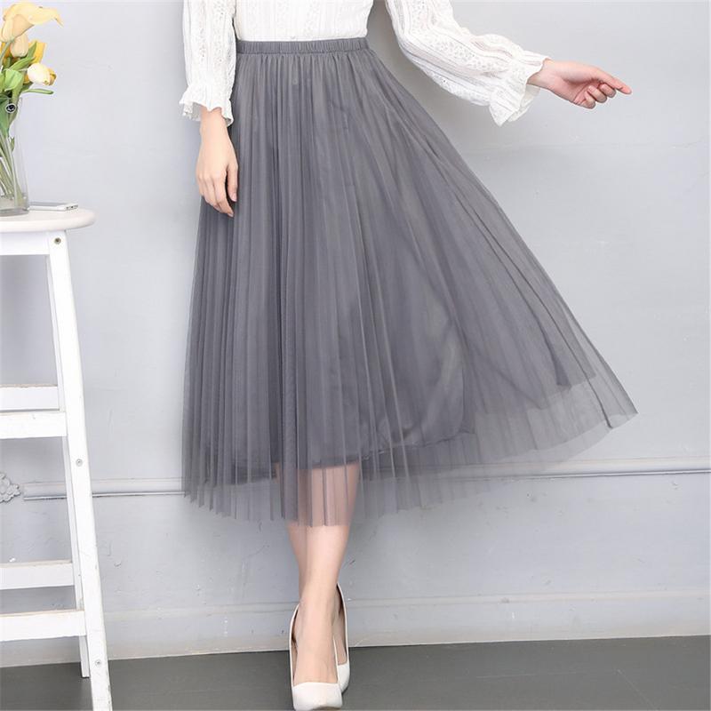 Tulle Skirt Women 2019 Summer Dress Skirts High Waist Tutu Skirt Skirts High Waist Mesh Woman Skirts Chiffon Skirt