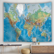 Antique Imitated World Map Old Memory Sailing Scrolls Cotton Canvas Frameless Wall Decorative Hanging 29