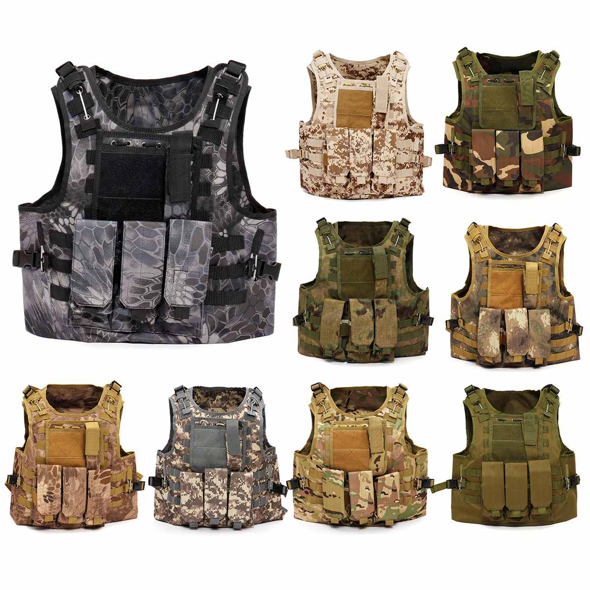 Unisex Adjustable Tactical Military Vest Army Paintball Airsoft Combat Assault Camouflage Vest Army Training Combat Uniform
