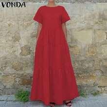 VONDA 2019 Women Summer Dress Vintage Short Sleeve Black Long Maxi Dresses Line-A Pleated Vestidos Beach Party Plus Size 5XL
