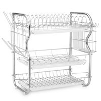 Stainless Carbon Steel Tableware Storage Rack Three Layers Cup Holder Kitchen Storage Bowls Rack Dishes Holders Organization