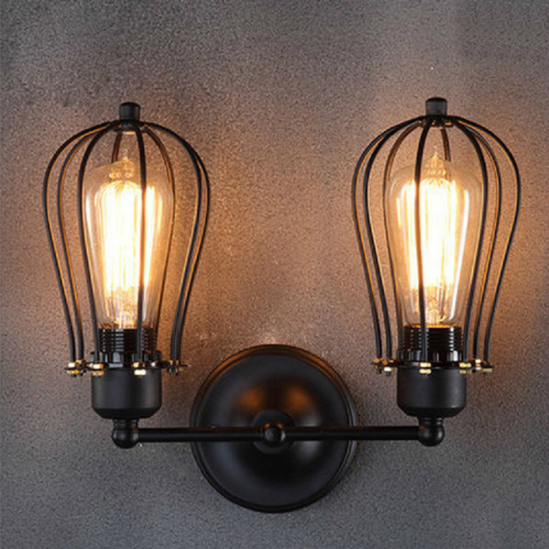 DE.SOUL Industrial Style American Country Wrought Iron Antique Single Double Wall Lamp Restaurant Corridor Aisle Wall Lamp