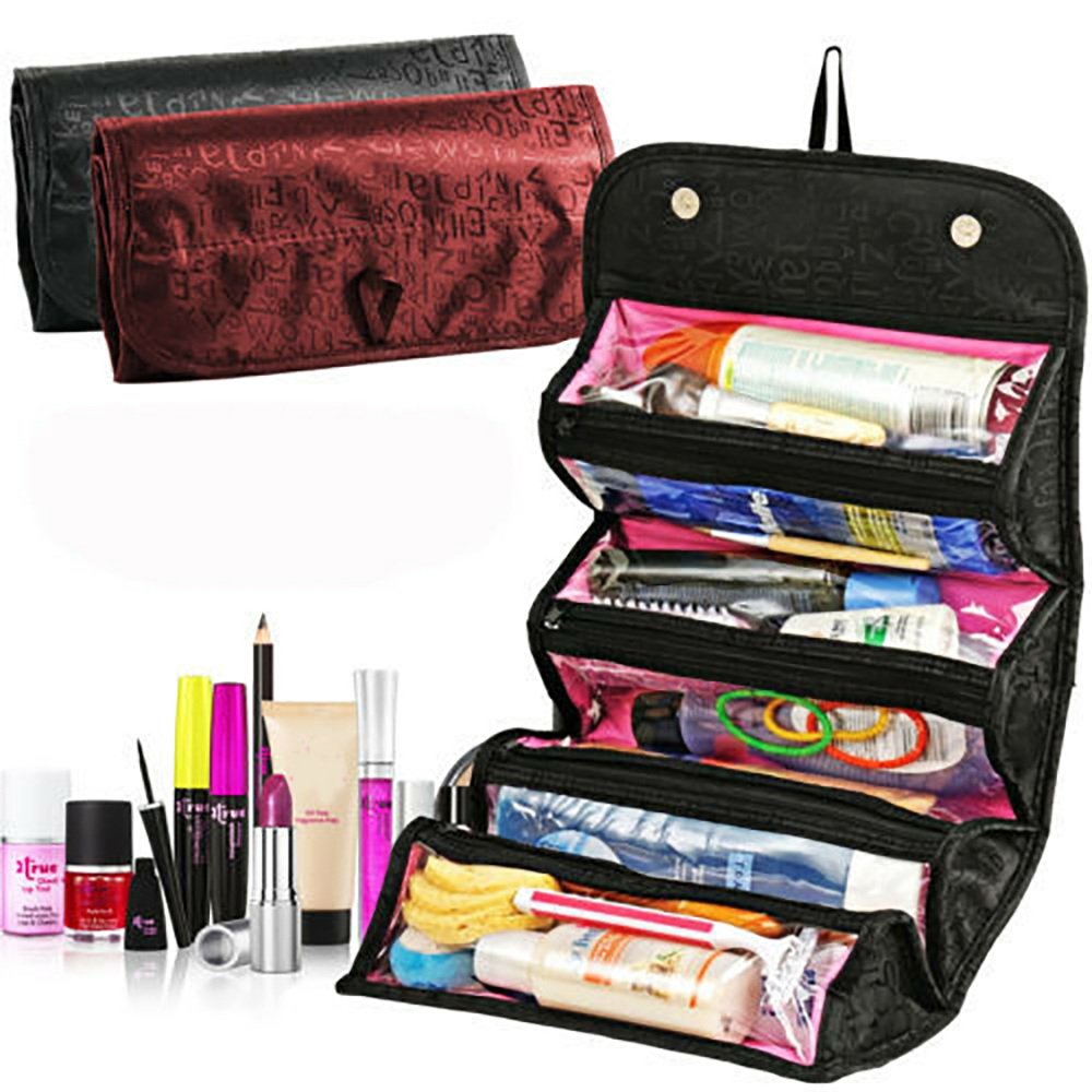 Foldable Cosmetic Bag Portable Hanging Organizer Storage Bag Creative Traveling Makeup Storage  Wash Bag Toiletry Kits