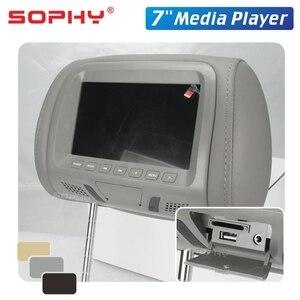 Image 5 - אוניברסלי 7 סנטימטרים רכב רכב משענת ראש צג אחורי מושב בידור מולטימדיה נגן כללי AV USB SD MP4