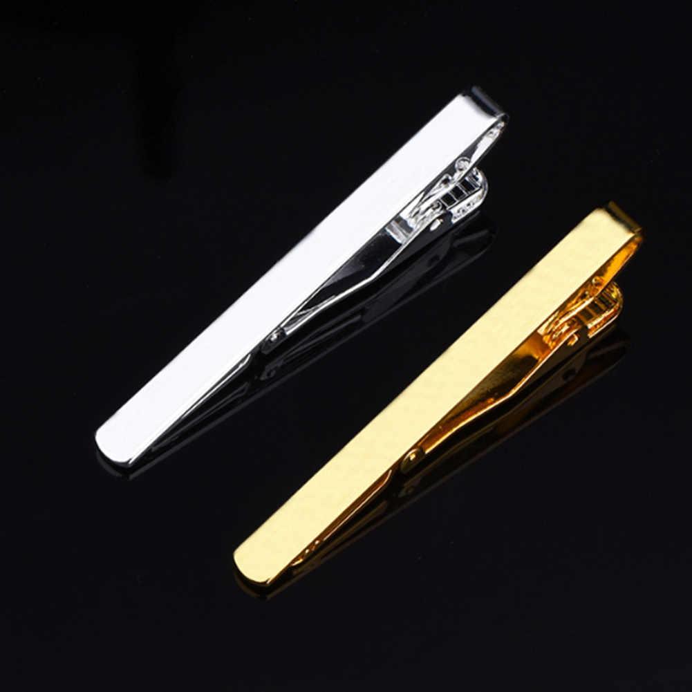 1 pcs di Modo di Clip di Legame Per Gli Uomini In Metallo Argento Tono Oro Semplice Bar Chiusura Pratica Cravatta Chiusura Gentleman Tie Bar per Mens Regalo