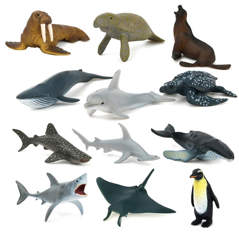 Shark REikirc 12PCS/Set Plastic Figures Sea Marine Animal Ocean Creatures Fish Miniature Simulation Model Kids Toy