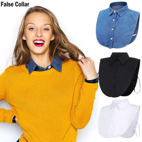 2019 Women Ladies False Fake Collar Half Shirt Blouse Vintage Detachable Collar Bib Convenient Solid Casual Fashion New Sale