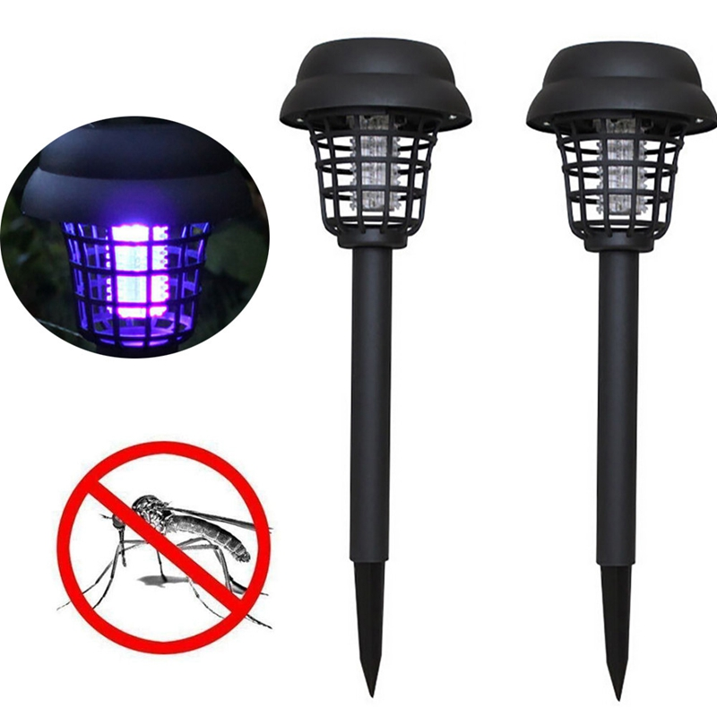 2Pcs Mosquito Repellent Killer Lamp Solar Powered Outdoor Garden Led Light Mosquito Pest Bug Zapper Insect Killer Path Lightin in Mosquito Killer Lamps from Lights Lighting