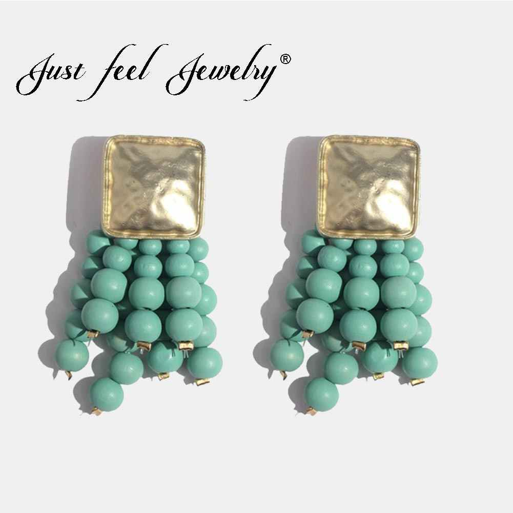 JUST FEEL Fashion Beads Tassel Drop Earrings For Women Square Handmade Wood Long Dangle Earring Gold Color Punk Ethnic Jewelry