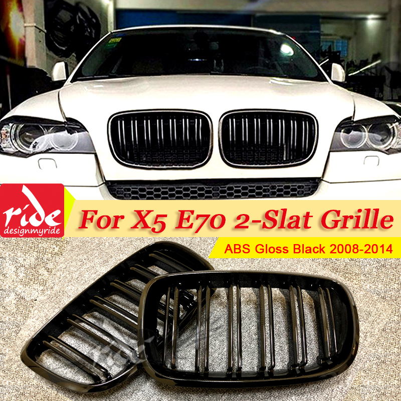 1 Pair X5 E70 Front Grille ABS Gloss Black For X5M 2-Slats Mesh Grills M-Style Kidney 2008-2014