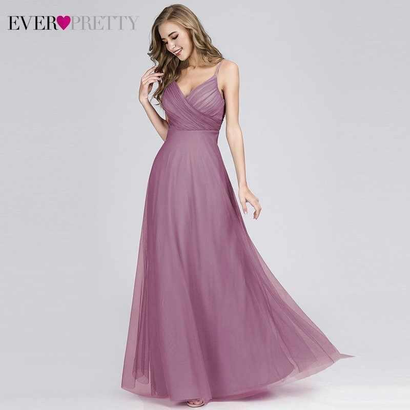 Вечернее платье Ever Pretty EP07369, длинное розовое шифоновое платье А-силуэта для свадьбы с лифом с рюшами, 2020