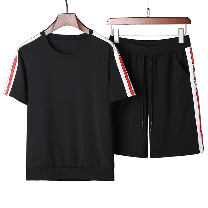 2pcs Set Summer Mens T-Shirt Tracksuit Short Sleeve T Shirt + Shorts Two Piece Men Pure Color Side Printing Sportswear Set