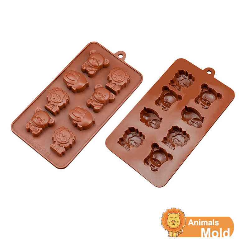 DIY Small Animals 3D Chocolate Silicone Mold Cake Decoration Baking Tools Hippo Bear Lion Soap Molds Candy Mould Ice Soap Molds