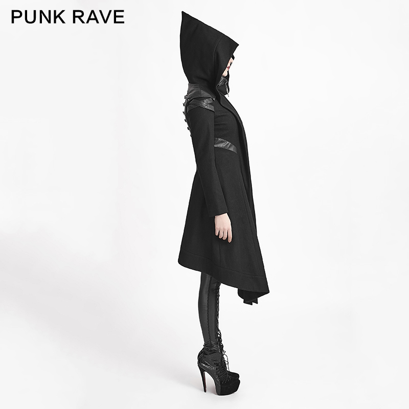 PUNK RAVE Women Punk Woolem Hooded Coat Gothic Black Long Jacket Steampunk Witch Cosplay Long Jacket Coat in Jackets from Women 39 s Clothing