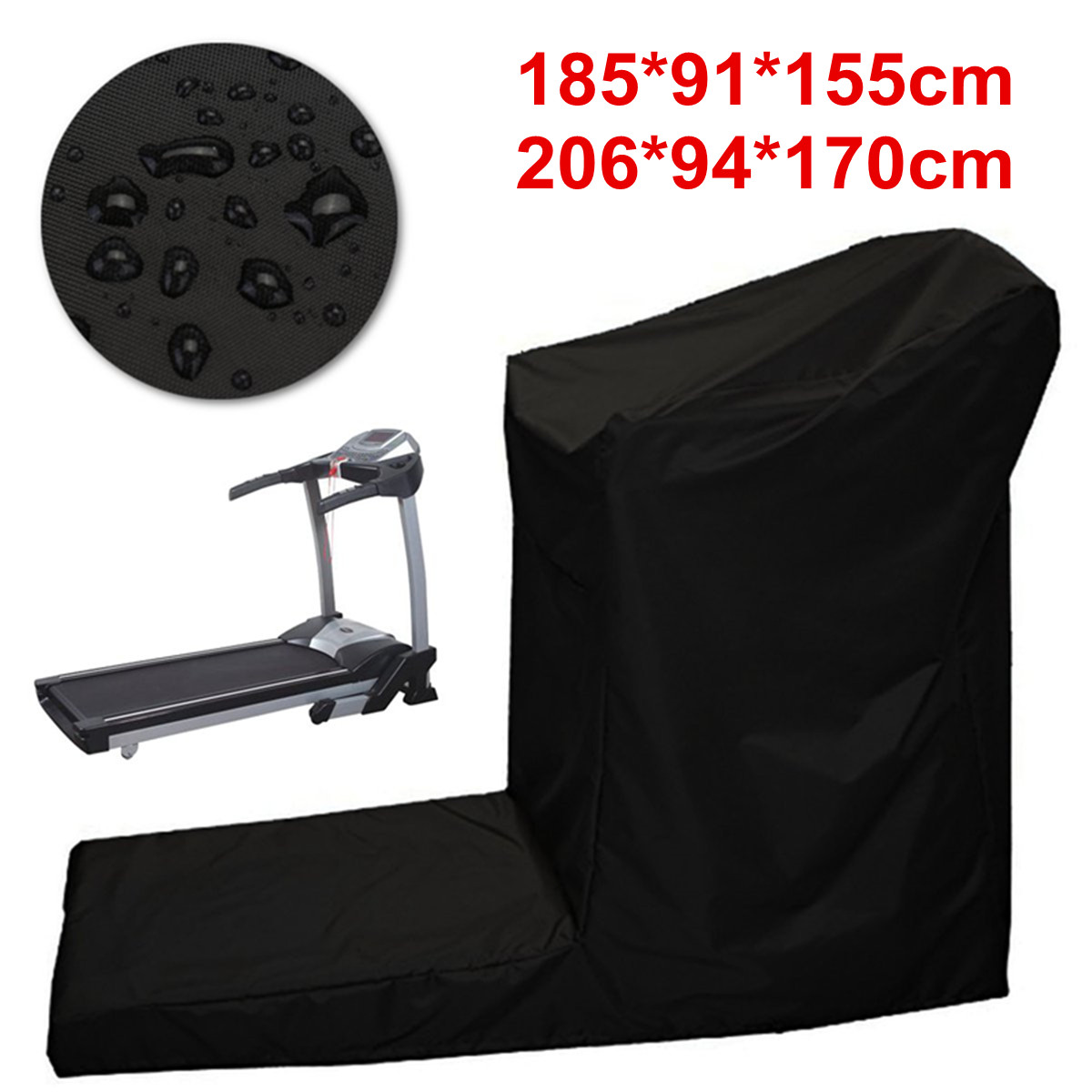 Indoor Outdooor Waterproof Treadmill Cover Running Jogging Machine Dustproof Shelter Protection All-Purpose Dust Covers Black