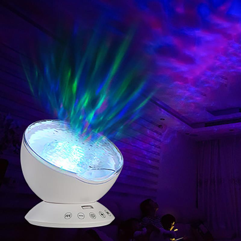 Aurora Ocean Waves Projector Lamp Relaxing Ceiling Projection Night Light Decor