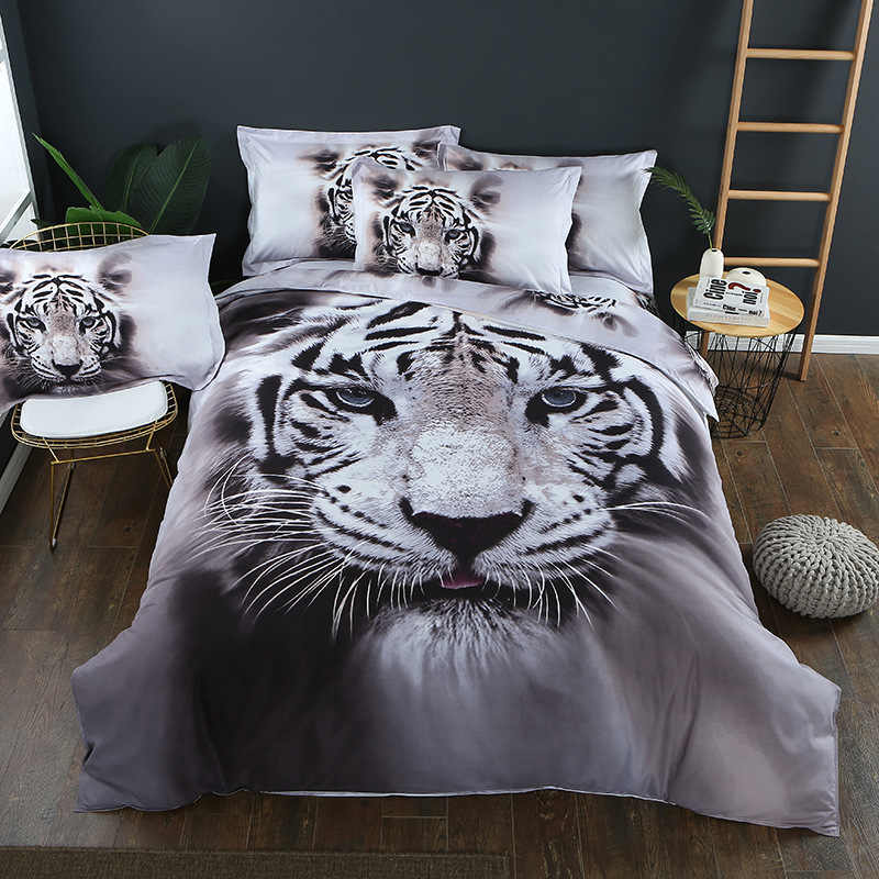 3D Tiger Animal Bedding Sets Duvet Cover King/Queen Size Tiger White Cotton Blend Bed Cover Lion  Bedclothes Pillowcase40