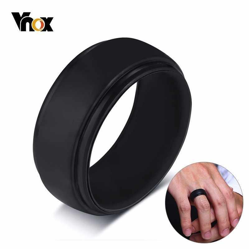 Vnox بأسعار معقولة سيليكون المطاط العصابات الزفاف للرجال النساء خواتم أسود أبيض اللون عارضة آنيل