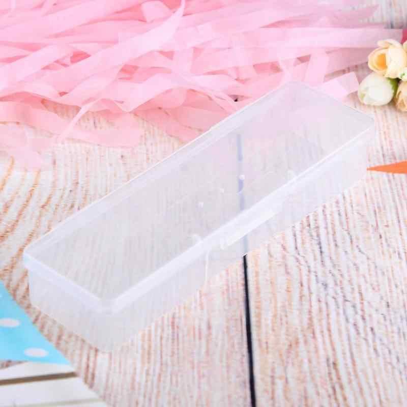 Caja de almacenamiento de Arte de uñas translúcido rectángulo uñas punteado dibujo pinceles brochas soporte contenedor manicura caso gota envío