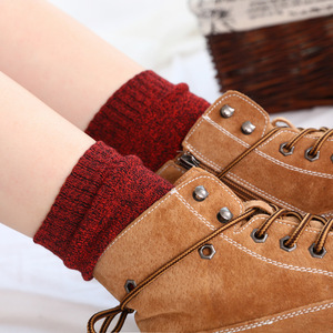 Image 4 - Winter Women Thick Warm Terry Cotton Fashion  Solid Harajuku Retro Solid Color Wool Socks 5 Pair