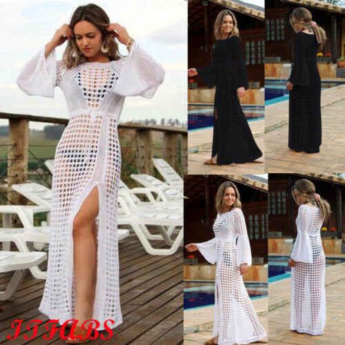 2019 Sexy Crochet Praia Cover Up Women Bikini Cover Up Knit Vestido Longo Praia Vestido de Túnica Beachwear Banho
