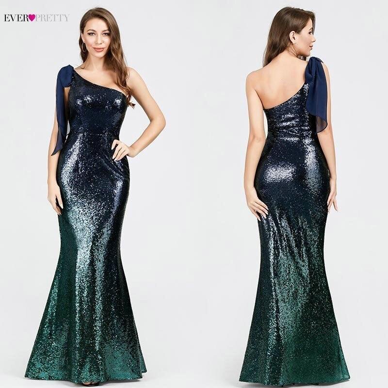 Sexy Sequined   Prom     Dresses   Long Mermaid Sleeveless One Shoulder Sparkle Vintage Women Formal Party   Dresses   mezuniyet elbiseleri