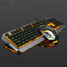 Mechanical Keyboard USB Wired Ergonomic Backlit Mechanical Feel Gaming Keyboard and Mouse Set with Aluminium Alloy Panel newst цена